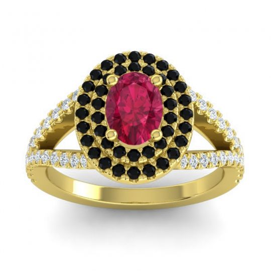 Ornate Oval Halo Dhala Ruby Ring with Black Onyx and Diamond in 14k Yellow Gold