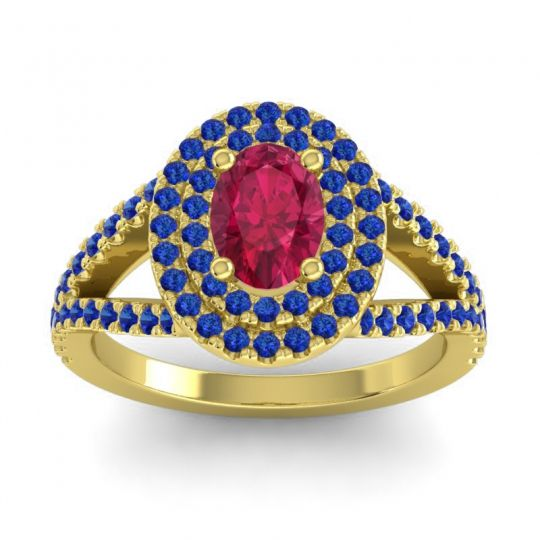 Ornate Oval Halo Dhala Ruby Ring with Blue Sapphire in 14k Yellow Gold