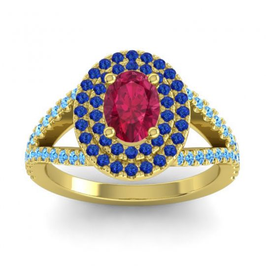 Ornate Oval Halo Dhala Ruby Ring with Blue Sapphire and Swiss Blue Topaz in 14k Yellow Gold