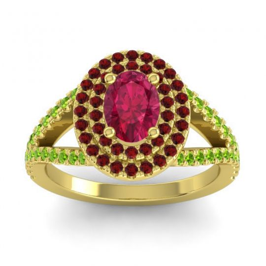 Ornate Oval Halo Dhala Ruby Ring with Garnet and Peridot in 14k Yellow Gold