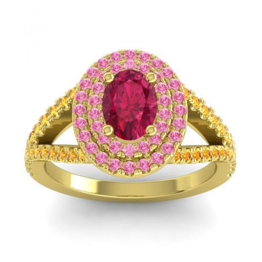 Ornate Oval Halo Dhala Ruby Ring with Pink Tourmaline and Citrine in 14k Yellow Gold