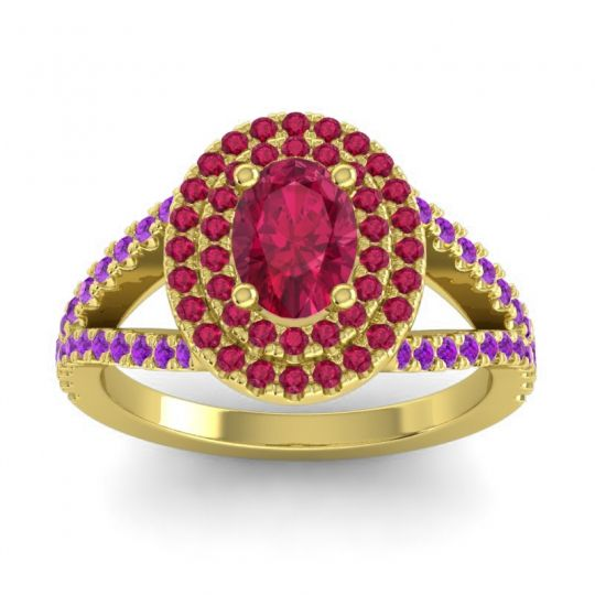 Ornate Oval Halo Dhala Ruby Ring with Amethyst in 18k Yellow Gold