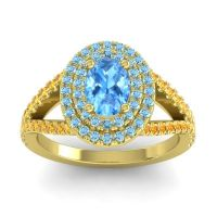 Ornate Oval Halo Dhala Swiss Blue Topaz Ring with Aquamarine and Citrine in 14k Yellow Gold