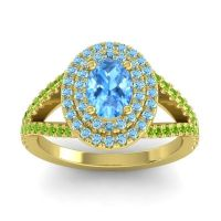 Ornate Oval Halo Dhala Swiss Blue Topaz Ring with Aquamarine and Peridot in 18k Yellow Gold