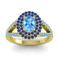 Ornate Oval Halo Dhala Swiss Blue Topaz Ring with Blue Sapphire in 18k Yellow Gold