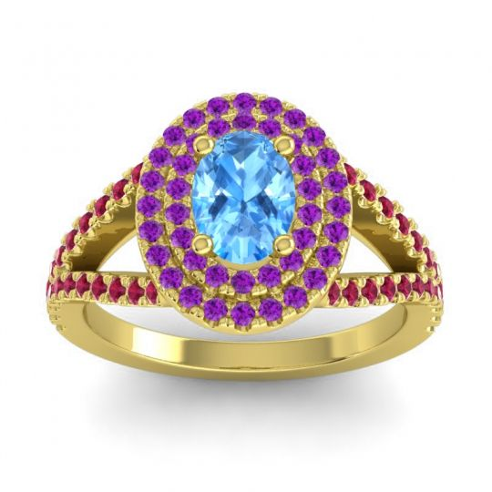 Ornate Oval Halo Dhala Swiss Blue Topaz Ring with Amethyst and Ruby in 14k Yellow Gold