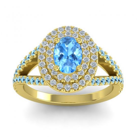Ornate Oval Halo Dhala Swiss Blue Topaz Ring with Diamond and Aquamarine in 14k Yellow Gold