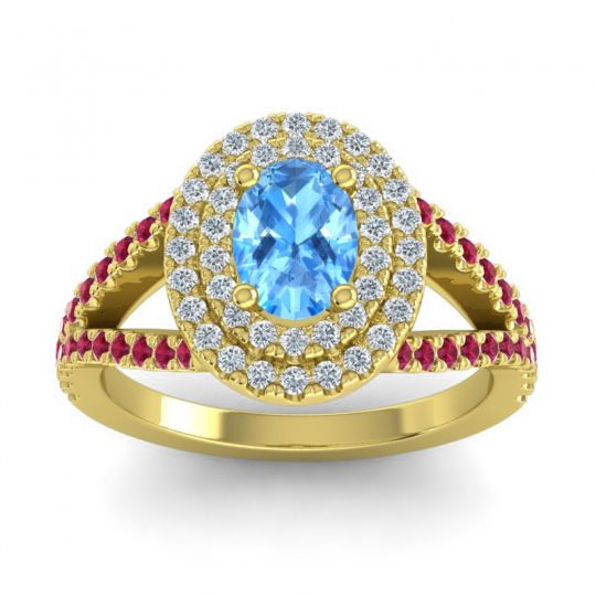 Ornate Oval Halo Dhala Swiss Blue Topaz Ring with Diamond and Ruby in 14k Yellow Gold
