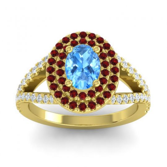 Ornate Oval Halo Dhala Swiss Blue Topaz Ring with Garnet and Diamond in 14k Yellow Gold