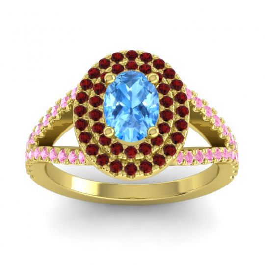 Ornate Oval Halo Dhala Swiss Blue Topaz Ring with Garnet and Pink Tourmaline in 18k Yellow Gold
