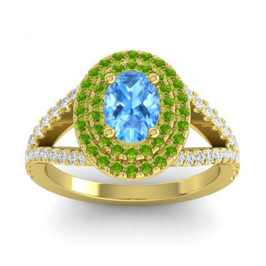 Ornate Oval Halo Dhala Swiss Blue Topaz Ring with Peridot and Diamond in 18k Yellow Gold