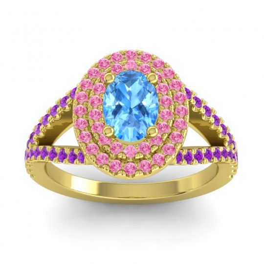 Ornate Oval Halo Dhala Swiss Blue Topaz Ring with Pink Tourmaline and Amethyst in 18k Yellow Gold