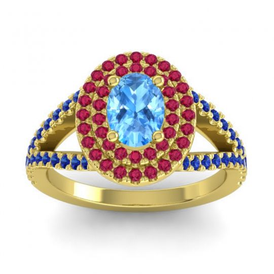 Ornate Oval Halo Dhala Swiss Blue Topaz Ring with Ruby and Blue Sapphire in 14k Yellow Gold