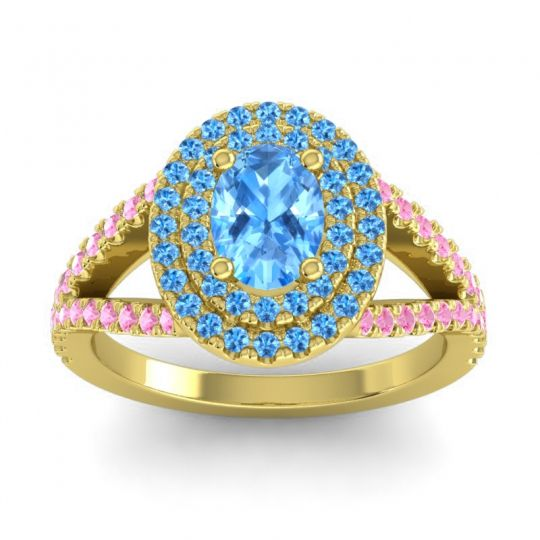Ornate Oval Halo Dhala Swiss Blue Topaz Ring with Pink Tourmaline in 18k Yellow Gold