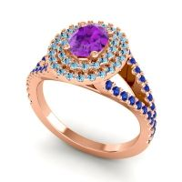 Ornate Oval Halo Dhala Amethyst Ring with Aquamarine and Blue Sapphire in 18K Rose Gold