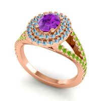 Ornate Oval Halo Dhala Amethyst Ring with Aquamarine and Peridot in 14K Rose Gold