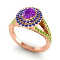 Ornate Oval Halo Dhala Amethyst Ring with Blue Sapphire and Peridot in 18K Rose Gold