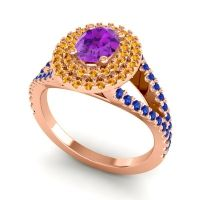 Ornate Oval Halo Dhala Amethyst Ring with Citrine and Blue Sapphire in 18K Rose Gold