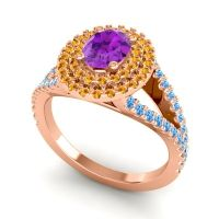 Ornate Oval Halo Dhala Amethyst Ring with Citrine and Swiss Blue Topaz in 14K Rose Gold