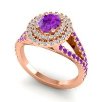 Ornate Oval Halo Dhala Amethyst Ring with Diamond in 18K Rose Gold
