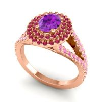 Ornate Oval Halo Dhala Amethyst Ring with Ruby and Pink Tourmaline in 14K Rose Gold