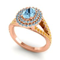 Ornate Oval Halo Dhala Aquamarine Ring with Citrine in 18K Rose Gold