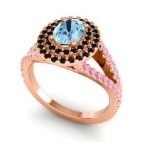 Ornate Oval Halo Dhala Aquamarine Ring with Black Onyx and Pink Tourmaline in 14K Rose Gold