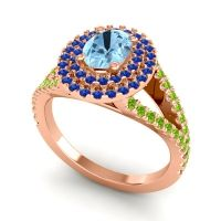 Ornate Oval Halo Dhala Aquamarine Ring with Blue Sapphire and Peridot in 18K Rose Gold