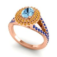 Ornate Oval Halo Dhala Aquamarine Ring with Citrine and Blue Sapphire in 14K Rose Gold