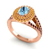 Ornate Oval Halo Dhala Aquamarine Ring with Citrine and Garnet in 18K Rose Gold