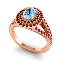 Ornate Oval Halo Dhala Aquamarine Ring with Garnet and Ruby in 18K Rose Gold