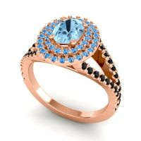 Ornate Oval Halo Dhala Aquamarine Ring with Swiss Blue Topaz and Black Onyx in 18K Rose Gold
