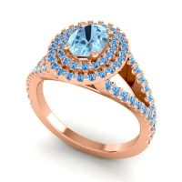 Ornate Oval Halo Dhala Aquamarine Ring with Swiss Blue Topaz in 14K Rose Gold