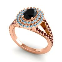 Ornate Oval Halo Dhala Black Onyx Ring with Aquamarine and Garnet in 14K Rose Gold