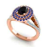 Ornate Oval Halo Dhala Black Onyx Ring with Blue Sapphire and Aquamarine in 14K Rose Gold