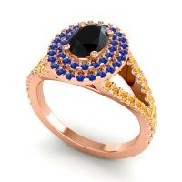 Ornate Oval Halo Dhala Black Onyx Ring with Blue Sapphire and Citrine in 18K Rose Gold