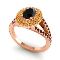 Ornate Oval Halo Dhala Black Onyx Ring with Citrine and Garnet in 14K Rose Gold