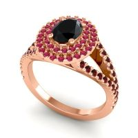 Ornate Oval Halo Dhala Black Onyx Ring with Ruby and Garnet in 18K Rose Gold