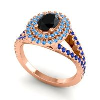 Ornate Oval Halo Dhala Black Onyx Ring with Swiss Blue Topaz and Blue Sapphire in 18K Rose Gold