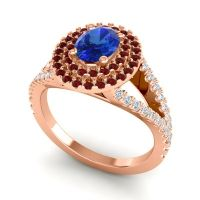 Ornate Oval Halo Dhala Blue Sapphire Ring with Garnet and Diamond in 14K Rose Gold