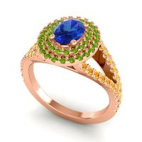 Ornate Oval Halo Dhala Blue Sapphire Ring with Peridot and Citrine in 14K Rose Gold