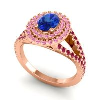 Ornate Oval Halo Dhala Blue Sapphire Ring with Pink Tourmaline and Ruby in 14K Rose Gold