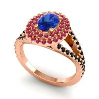 Ornate Oval Halo Dhala Blue Sapphire Ring with Ruby and Black Onyx in 14K Rose Gold