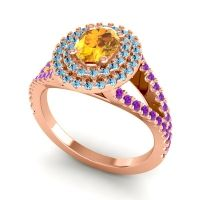 Ornate Oval Halo Dhala Citrine Ring with Aquamarine and Amethyst in 18K Rose Gold