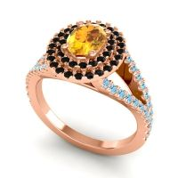 Ornate Oval Halo Dhala Citrine Ring with Black Onyx and Aquamarine in 18K Rose Gold