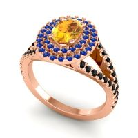 Ornate Oval Halo Dhala Citrine Ring with Blue Sapphire and Black Onyx in 14K Rose Gold