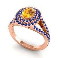 Ornate Oval Halo Dhala Citrine Ring with Blue Sapphire in 14K Rose Gold