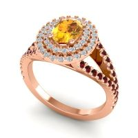 Ornate Oval Halo Dhala Citrine Ring with Diamond and Garnet in 14K Rose Gold