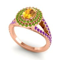 Ornate Oval Halo Dhala Citrine Ring with Peridot and Amethyst in 18K Rose Gold