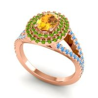 Ornate Oval Halo Dhala Citrine Ring with Peridot and Swiss Blue Topaz in 18K Rose Gold